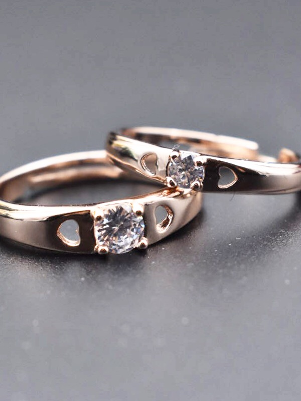 Rose Gold Plated Solitaire Couple Rings Adjustable Sperkygem Com